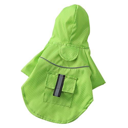 Energie Grüne Kostüm - Smniao Hund Regenjacke Hoodie mit Tasche, Reflektierende Streifen wasserdichte Klettdesign PU Regenmantel für kleine Mittel Hunde, Größe S-XL (M, Grün)
