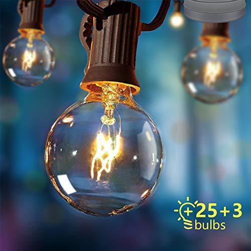 Opard Lichterkette Außen Lichterkette Glühbirnen G40 7.5M 28er Glühbirnen Lichterkette Außen Warmweiß Garten Lichterketten Außen Innenbeleuchtung Deko Licht mit Stecker für Garten, Hochzeit, Zimmer -