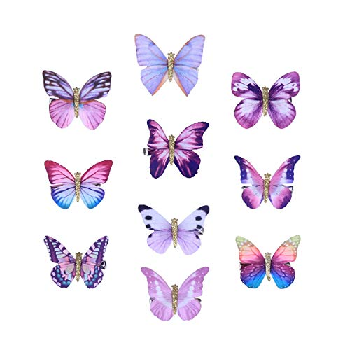 10pcs lindo adorable tridimensional mariposa pinza de pelo pin de pelo Bobby Pin pasador de pelo para niñas de los niños (púrpura, patrón aleatorio)