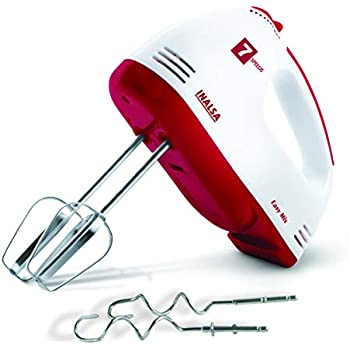Inalsa Hand Mixer Easy Mix-200W with 7 Speed Control & Detachable Stainless-Steel Finish Beater & Whisker| In-Built Eject Knob & Slim Grip,(Red/White)