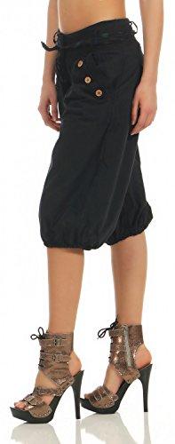Damen Capri Sommerhose Pumphose Pluderhose Freizeithose ( No 621 ) Schwarz