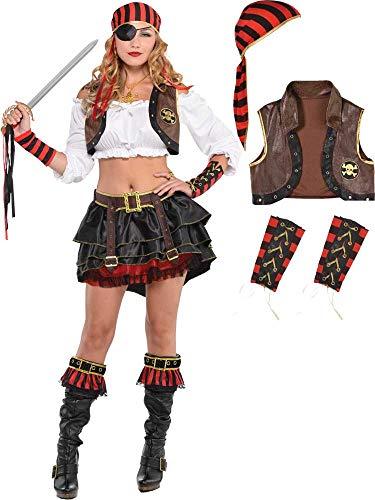 Piraten Kostüm Verführerisch - Generique - Verführerisches Piraten-Set für Damen braun-schwarz-rot