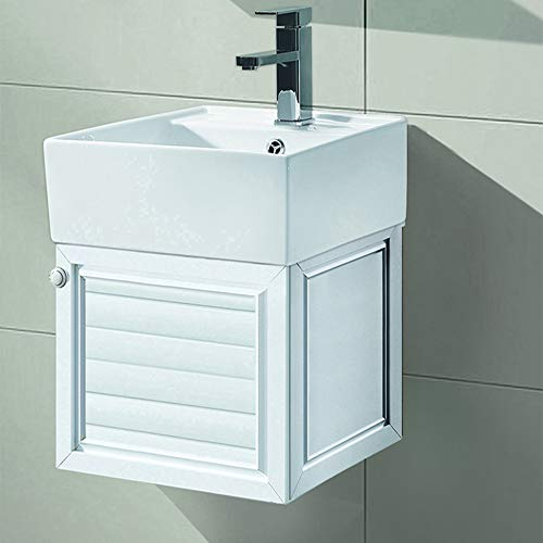 AICA Waschbecken mit Unterschrank Gäste WC Badset Hängeschrank Klein 400mm Weiß