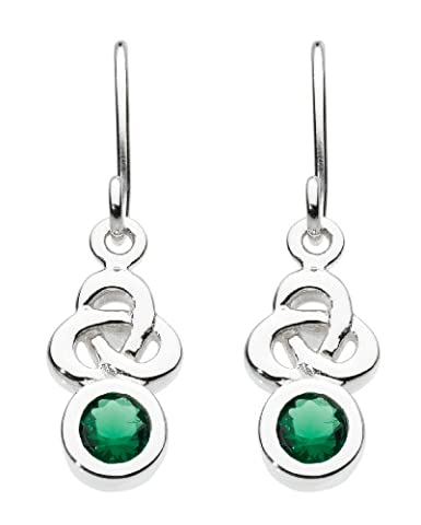 Heritage Sterling Silver and Green Glass Celtic Trinity Knot Drop Earrings