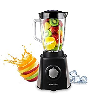 Aigostar Black Windmill 30JPM - Multi-Function Glass Jug Blender Machine and Ice Crusher with 2-Speed, 1.5L Glass Jar and 6-Blade of 304 Stainless Steel, 600 Watt, BPA Free. Exclusive Design.