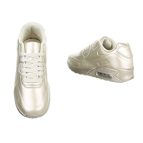Ital-Design Sneakers Low Damenschuhe Sneakers Low Sneakers Schnürsenkel Freizeitschuhe Beige Gold B3121B-SP R-33