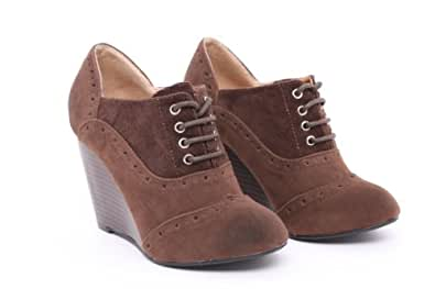T'adore Women's Shoes Brown Suedette Lace Up Ankle Boots Casual Wedge Mid Heel Ladies Heels - Size: 7