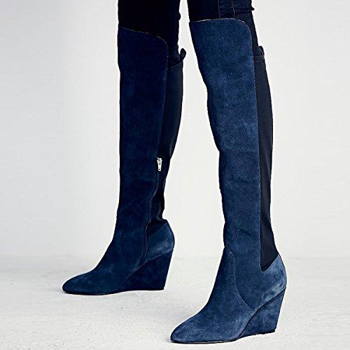 df6aab532949d7 Damen Langschaft Stiefeletten Fellsamt Keilabsatz Knie Hoch Stiefel Blau