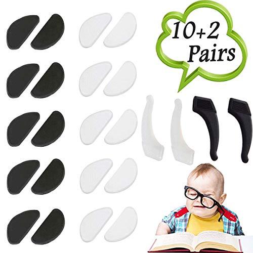 10 Paar Silikon Rutschfeste Nasenpads (1 mm) + 2 Paar Ohrhaken Grip Holder Anti Rutsch Halter für Brillen Sonnenbrillen Brillen, Schwarz und Weiß