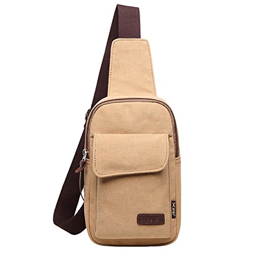 TININNA Uomo Vintage Multifunzione Sport Crossbody Bag in tela Borsa a tracolla Messenger Bag Borsa Borsetta a Spalla per Viaggio/Sport/Bicicletta/Trekking(Khaki) Khaki