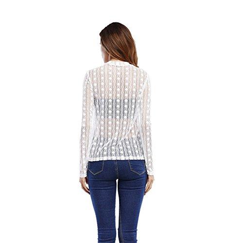 szivyshi Manches Longues Serré Taille Encolure Montante Haute à Rayures Rayé Florale à Fleurs Dentelle Overlay Blouse Chemisier Chemise Shirt T-Shirt Tee Haut Top Blanc