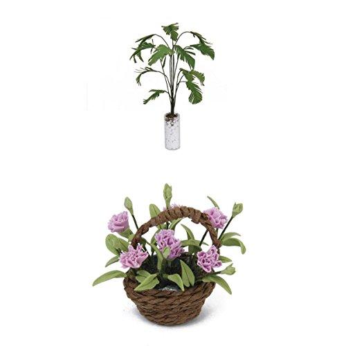 Preisvergleich Produktbild Puppenhaus Miniatur Grüne Bananenbaum & Nelke Blume Pflanze Garten Zubehör