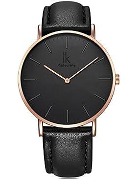 Alienwork Quarz Armbanduhr elegant Quarzuhr Uhr modisch Zeitloses Design klassisch Leder schwarz 98469L-12