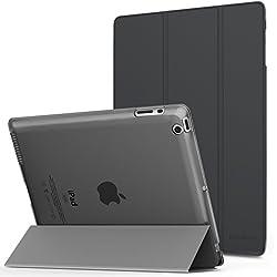 MoKo Funda para iPad 2 / 3 / 4 - Ultra Slim Función de Soporte Protectora Plegable Smart Cover Trasera Transparente Durable (Auto Sueño / Estela) Para Apple iPad 2 / 3 / 4 9.7 Pulgadas, Gris Espacial