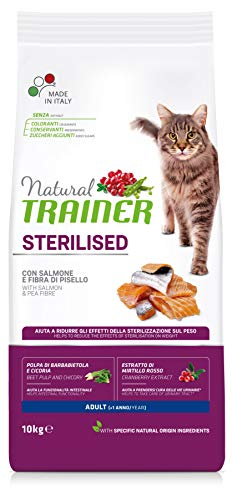 Trainer Natural Sterilised Adult con Salmone e Fibra di Pisello 10 kg - 10000 Gr