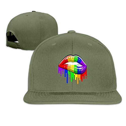 ghkfgkfgk LGBT Gay Rainbow Lips Trucker Hat, Adjustable Hip Hop Flat-Bill Baseball Cap Unisex (Distressed Leather Flat Cap)