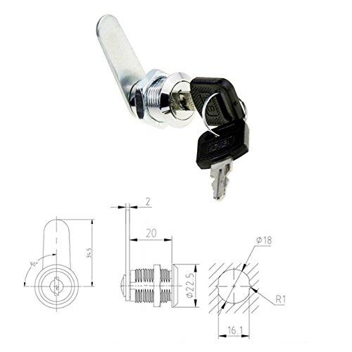 uooom Cam Lock Datei Schrank Schloss für Mailbox Schublade Schrank mit Schlüssel, T 20mm (Lock-datei)