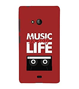 Fiobs Designer Back Case Cover for Microsoft Lumia 540 Dual SIM (Music Life Message Quotes Tape )