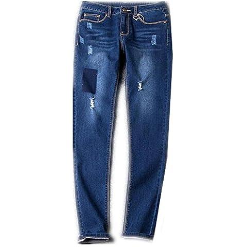 Byjia Bleu Denim Fermeture À Glissière Bouton Long Lâche Couleur Unie Pulpeuses Bien Roulée Base Bootcut Jeans Femmes Détruire Skinny .