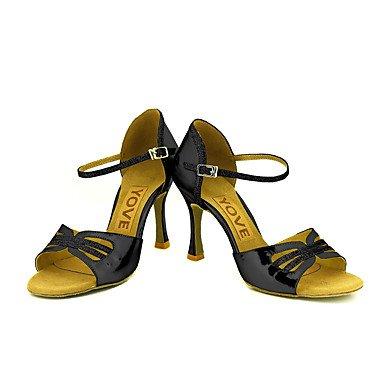 Scarpe da ballo-Personalizzabile-Da donna-Balli latino-americani / Salsa-Tacco su misura-Brillantini-Nero / Blu / Rosso / Argento / Dorato Silver
