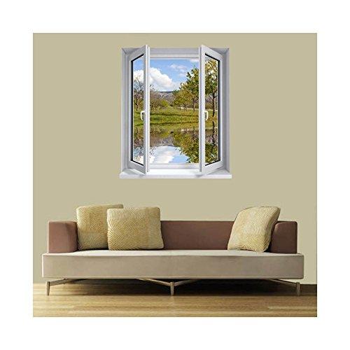 Adesivi trompe l' oeil finestra l' stagno, l 84cm x h 100cm
