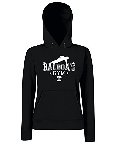 T-Shirtshock - Sweats a capuche Femme T0859 balboa s gym film inspired Noir