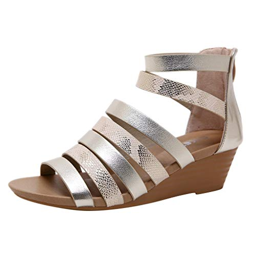 UOWEG Wedges Sandalen für Damen Roma Snake Wedges Peep Toe Breathable Zipper Sandalen Freizeit Schuhe -
