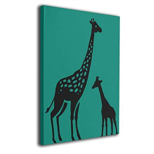 Kong Art Giraffe Wandbild auf Leinwand, modernes Wohnzimmer-/Schlafzimmer-Dekoration, gespannt und fertig zum Aufhängen, weiß, ()