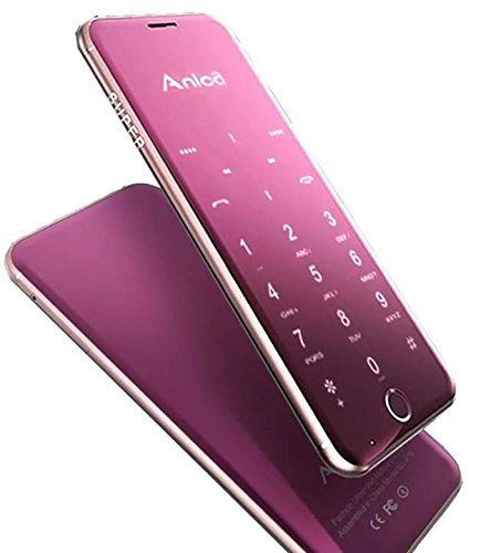 Anica A16 mini mobile Phone Ultrathin Luxury phone with MP3 player Bluetooth 1.63inch credit card cell phone Rose Gold