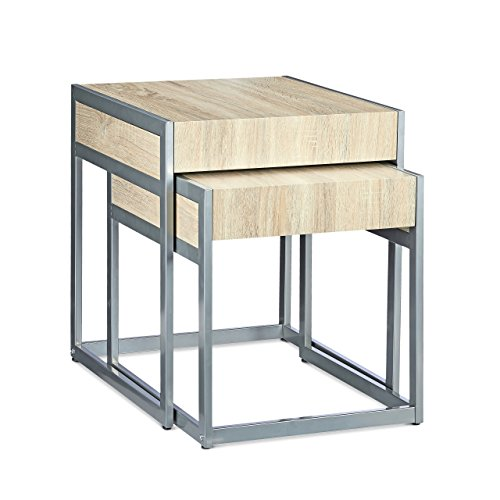Relaxdays 10020338 Set Nr. 2 Tavolini, Impilabili, Struttura in Acciaio Inox Verniciato, con Ripiano in MDF, 51 X 48 X 57 cm, Argento