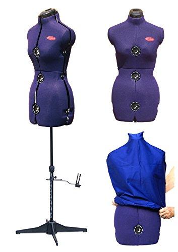 DEUBL Verstellbare Schneiderpuppe Prymadonna Damen Torso, Prymadonna, Größe: S, Vierbein Standfuß, Rockabrunder und Schutzbezug in blau