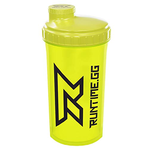 Runtime Eiweiß-Shaker | Sport-Flasche für Nutrition und Fitness | 700ml Fassungsvermögen | mit Sieb - 100% dicht | BPA-frei - inkl. Messskala - transparent (Neon Yellow) (Tupperware-shaker-flasche)