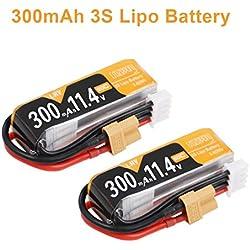 FancyWhoop 2pcs 300mAh 3S HV LiPo batería 80C / 160C 11.4V LiHv batería con XT30 Plug para Micro FPV Drone de Carreras como Mobula7 HD