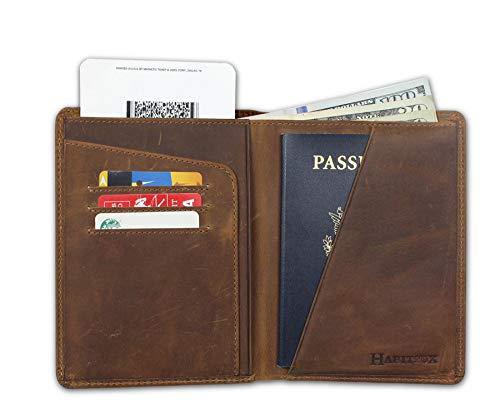 Portefeuille Passeport Portefeuille Passeport - Portefeuille de Voyage en Cuir Portefeuille Homme ou Femme (Marron)