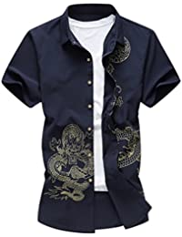 Honghu Herren Business Drachen Drucken Slim Fit Hemd Kurze Ärmel Shirt 31152964bd