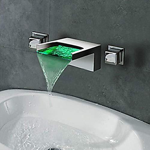 TOMSSL Badezimmer Waschbecken Wasserhahn Wasserfall LED Chrom Wandmontage Doppelgriff DREI Loch Badewanne Wasserhahn Retro zeitgenössische Keramik Ventil Wasserhahn Feine Verarbeitung (Led Waschbecken Kopf)