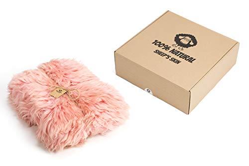 Amazinggirl Lammfell Schaffell Teppich Geschenkbox Naturform Echt Fell NATURFELL Sheepskin Färbung...