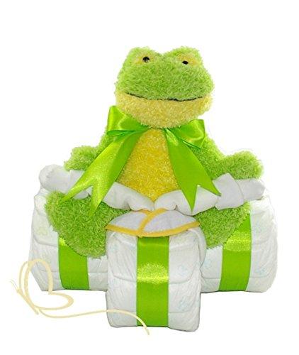Windeldreirad mit Kuscheltier Frosch – Windeltorte neutral / Windelgeschenk zur Geburt – dubistda© handmade