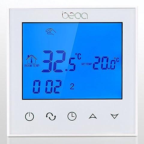 BECA BHT-321GBLTP 220VAC Datenspeicher Touchscreen 5 + 2 sechs Perioden wöchentlich programmierbar 16A Elektro-Fußbodenheizung Thermostat