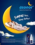 Asonor Snoring Nasal Spray (30milliliter), Effective Snore Stopper Drops for Better Sleep, Snore Relief Remedy Opens Up The Throat Air Passage, Enables Better Breathing, Natural Anti-Snoring Solution