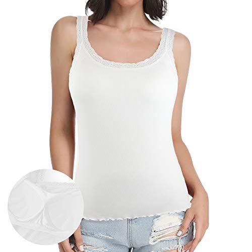 STARBILD Damen Spitzenbesatz Leibchen Tank Top mit unsichtbar BH Einfarbig gepolsterte ärmellose Weste Tops Weiß S - Weiße Spitzenbesatz Leibchen