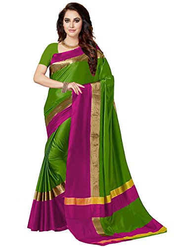 Ishin Poly Silk Green & Pink Woven Party Wear Wedding Wear Casual Wear Festive Wear New Collection Latest Design Trendy Women's Saree/Sari  available at amazon for Rs.449