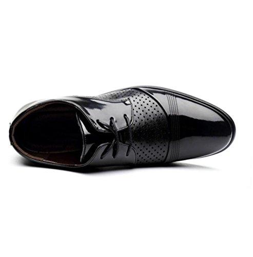 Uomini Moda Scarpe Da Buco Pelle Sandali Scarpe Traspiranti Pizzi Scarpe Casual Black