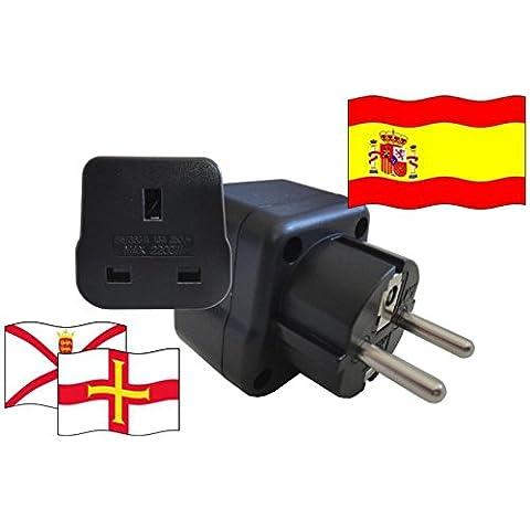 Adaptador de enchufe de viaje para Spanien–vacaciones Islas del canal con tierra Contacto