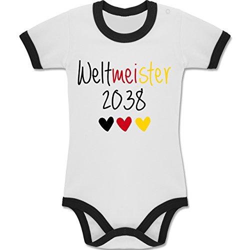 Strampler Motive - Weltmeister 2038 - EM 2016 - Fußball - 6-12 Monate - Weiß/Schwarz - BZ19 - Zweifarbiger Baby Strampler für Jungen und Mädchen