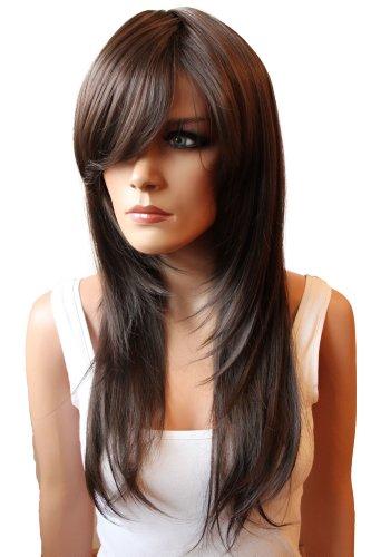 Hitzebeständige Perücke (PRETTYSHOP Perücke Wig langhaar glatt stufig aus Hitzebeständiger Kunstfaser Wie Echthaar diverse Farben FZ505 (schokobraun))