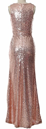 MACloth V Neck Sequin Hi Lo Bridesmaid Dress Simple Long Prom Dress Formal Gown Dark Green