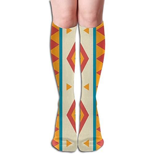 Jxrodekz Local Decorate Pattern Design Elastic Blend Long Socks Compression Knee High Socks (50cm) for Sports