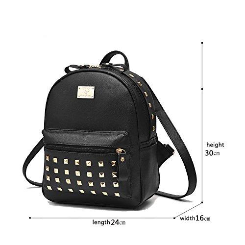 Sunas Sacchetti delle signore di cuoio dell'unità di elaborazione delle borse del sacchetto di spalla dell'allievo rivetta lo zaino di corsa nero