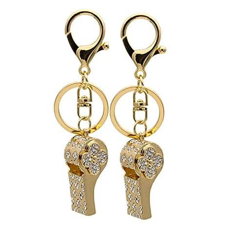 KesiErte Creative Personality Gift Key Attache pendentif peut souffler Whistle strass Keychain pendentif accessoires accessoires voiture ,